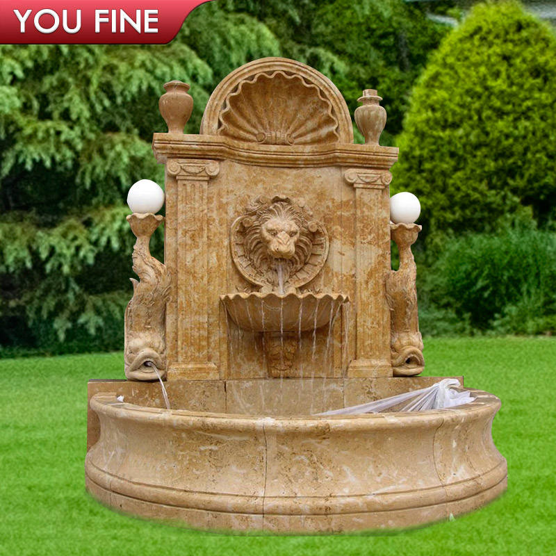 Outdoor marble stone lion head wall fountain