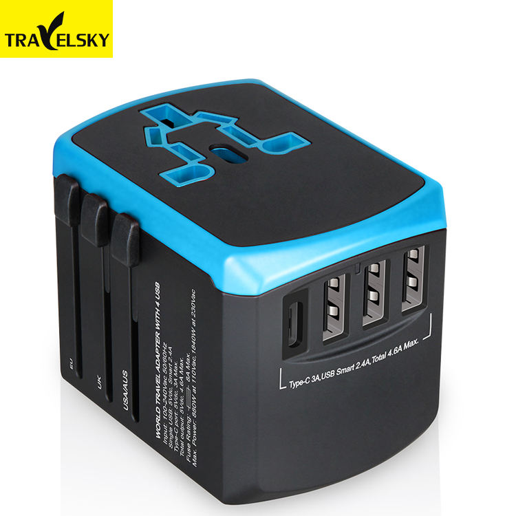 Travelsky Baru USB C Type World Travel Adapter Charger Cepat Universal Socket Outlet 4500mA Usb Adaptor