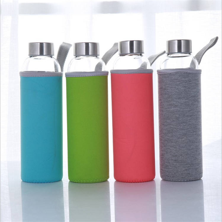 colour 500 ml insulated custom portable borosilicate drinking glass water bottle with neoprene sleeve