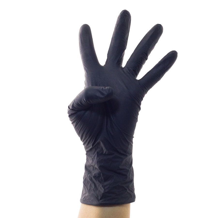 Black Disposable Mechanic Nitrile Assembling Working Gloves