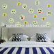 Luminous smiling face wall stickers glow in the dark wall decals star stickers glow in the dark glow star