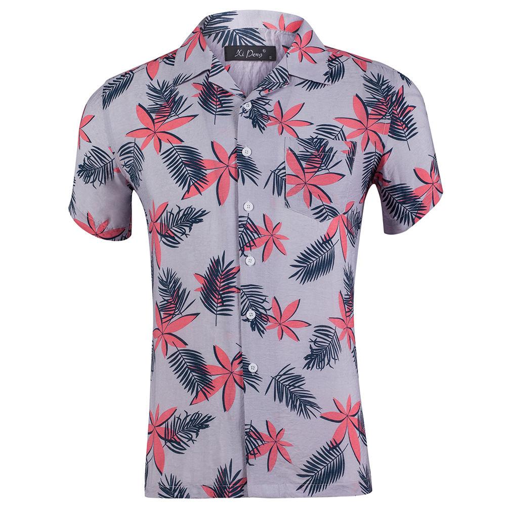 Front Pocket Button Down Shirts Flannel Printed Summer Cotton Casual Beach Custom Aloha Mens Hawaiian Printing Rayon Shirt