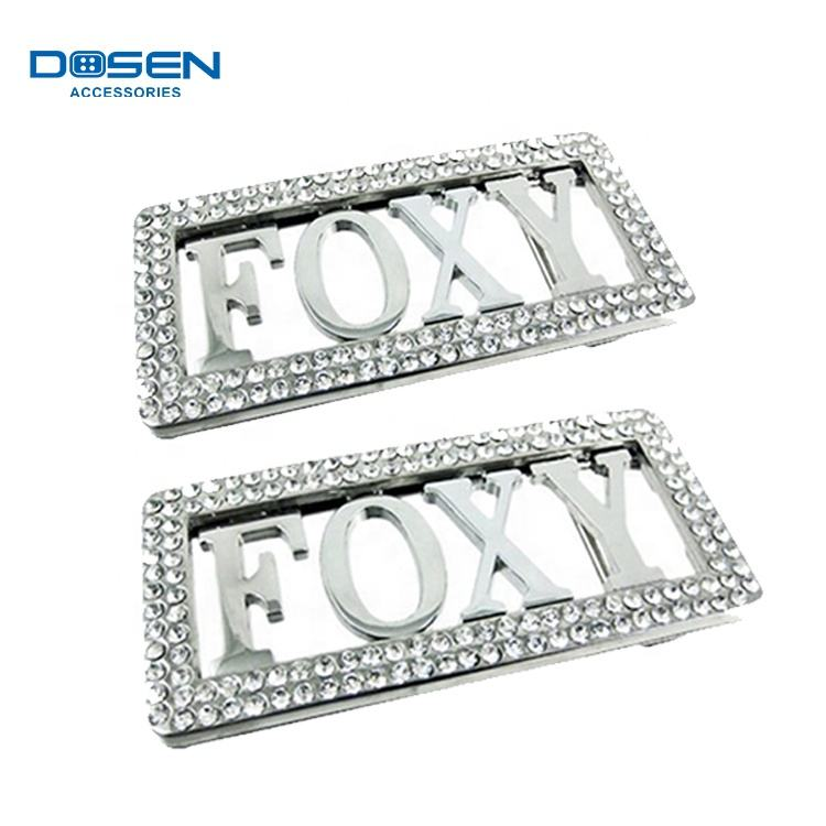 Silver Color Personalized Glitter Rhinestone Rectangle Crystal Custom Brand Hollow Belt Buckle parts