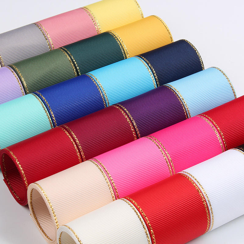 Stock wholesale 1inch 25mm colors double face grosgrain ribbon with gold wire edged
