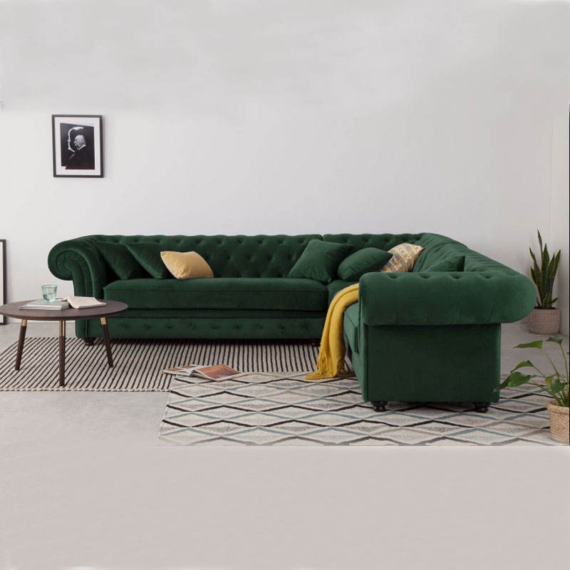 Modern New Design Small Fabric Curved Corner Sofa