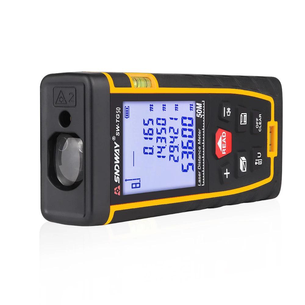 SNDWAY Hot sale Multifunction outdoor Handheld range finder 50M Infrared laser distance meter SW-TG50