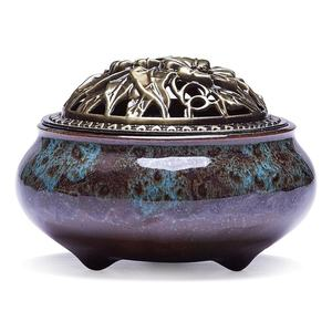home decoration cheap custom hand made blue ceramic Stick Incense Burner and Cone Incense Holder