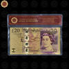 Wr Collectible 24K Gold Plated UK Banknote Colored 20 GBP Paper Note with Frame