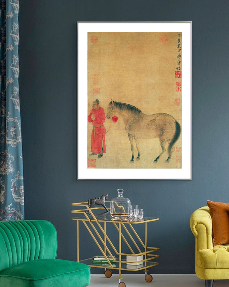 Top 100 traditional Chinese painting masterpiece prints animal poster Man horse portrait by Ren Xianzuo Yuan Dynasty home decor
