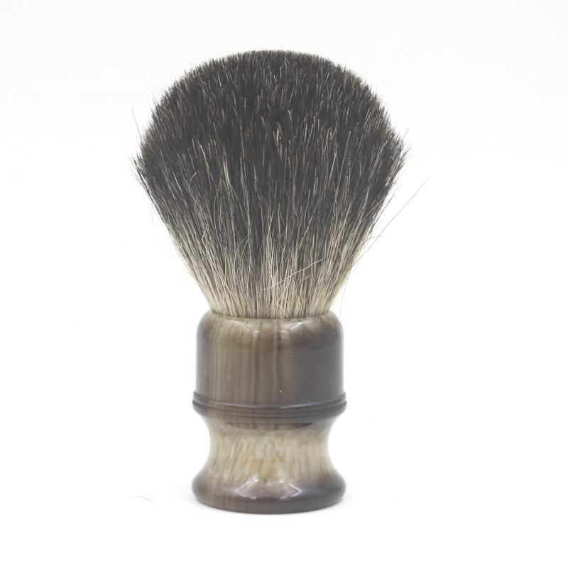 Faux Horn Resin Handle แปรงโกนหนวด badger Pure