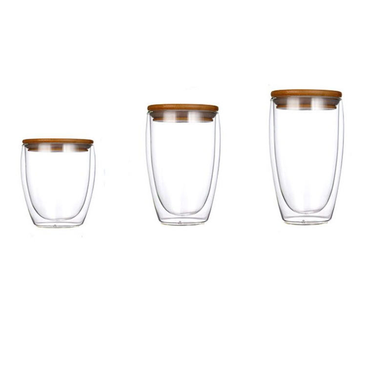 high borosilicate glass heat-insulated double wall glass cup for hot coffee and tea with bamboo lid