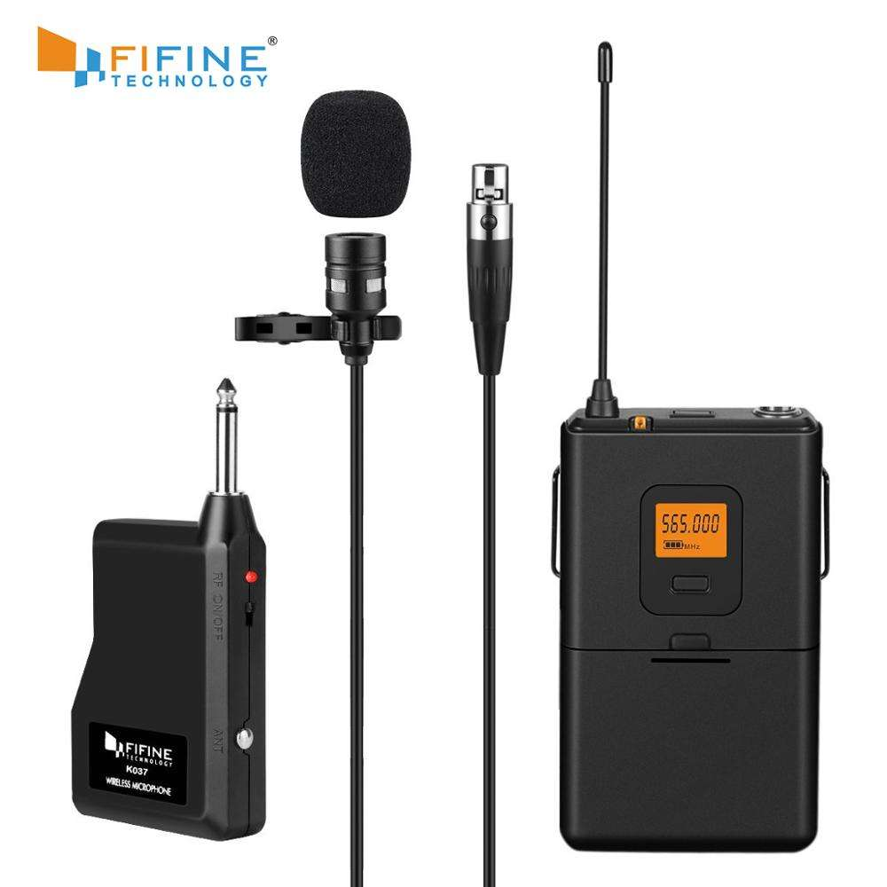 Fifine wireless lavalier lapel microphone 20 channels for conference online teaching