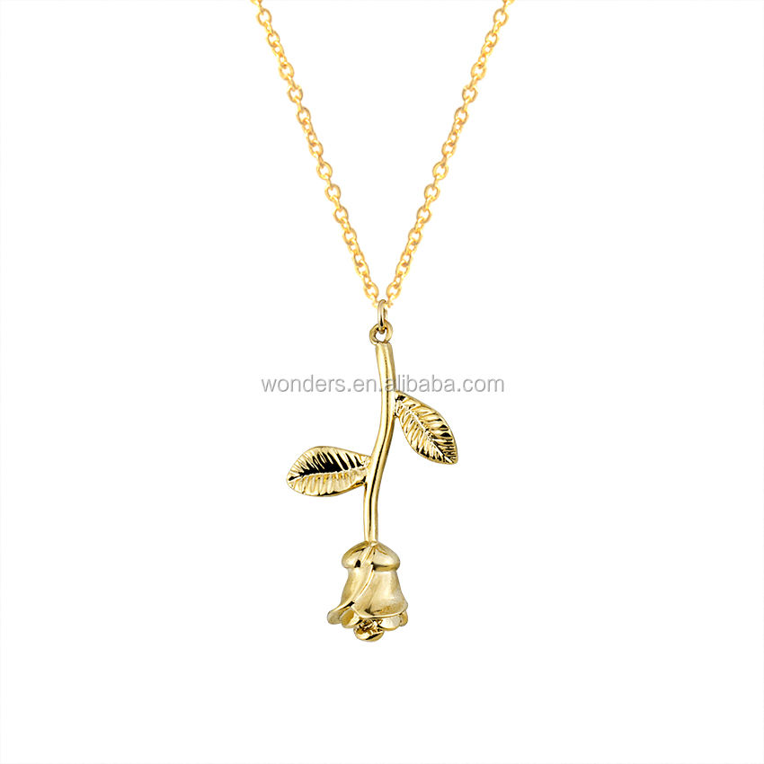 Long Stem Rose Copper Pendant Jewelry Woman Necklace Fashion Bijoux Rose Gold Plated
