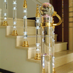 hot designs staircase railing crystal glass stair pillar