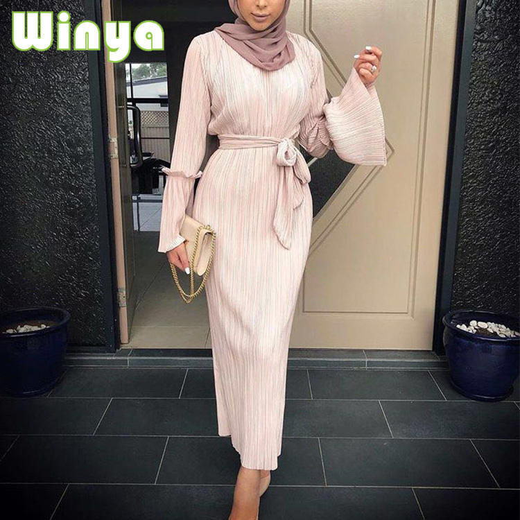 Fashionable Muslim Women Plus-Size Long Sleeve Maxi Dress Islamic Clothing Abaya