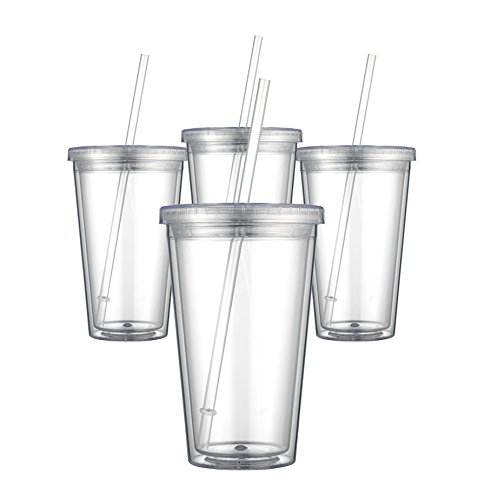 High quality double wall mug clear plastic cup with straw tumbler