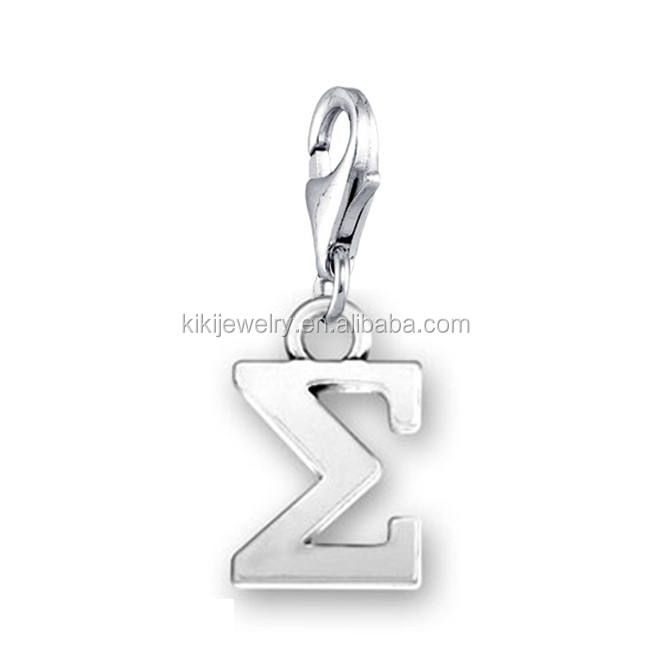 Wholesale Greek Jewelry Antique Silver Plated Lobster Clasp Sigma Letter Charms