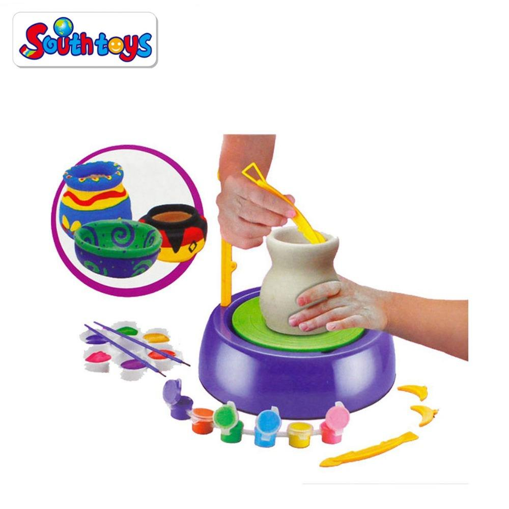 Educational Creative DIY Toy Easy Spin Pottery Wheel Refill Ceramic Machine For Kids