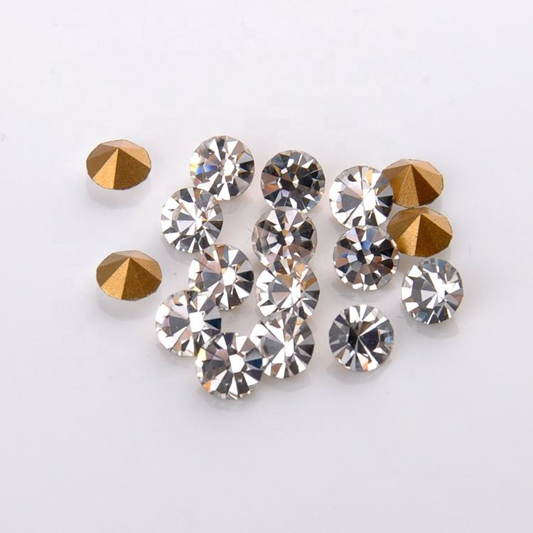 Sparkling Glas Chaton Point Terug Rhinestone Loose Crystal Stone
