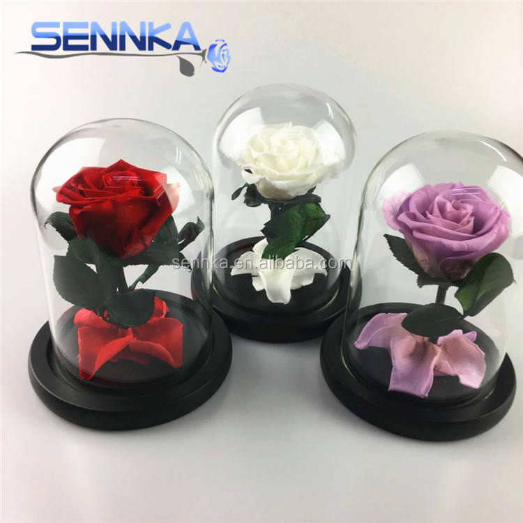 Real Artificial Wholesale Cheap Rose in Glass Nature Hydrangea Preseved Flowers