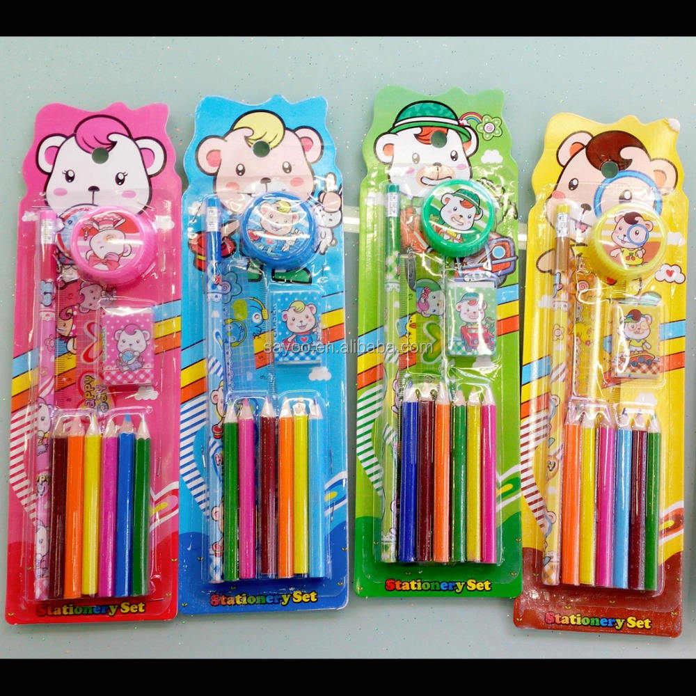 Wholesale 10pcs lovely school stationery sets for kids gift