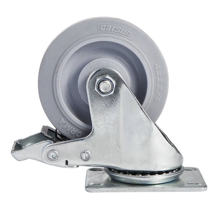 High quality medium duty 3/3.5/4/5 inch TPR caster wheel with metal total lock brake industrial caster