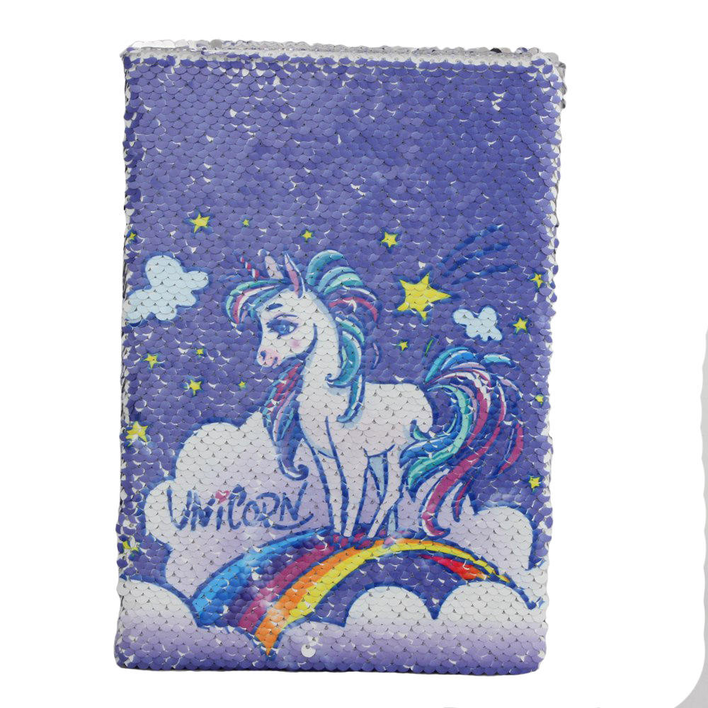 Hot Sale Cheap Custom Personalized Colorful Fashion Unicorn Sequin Diary Notebook for School Students Gift