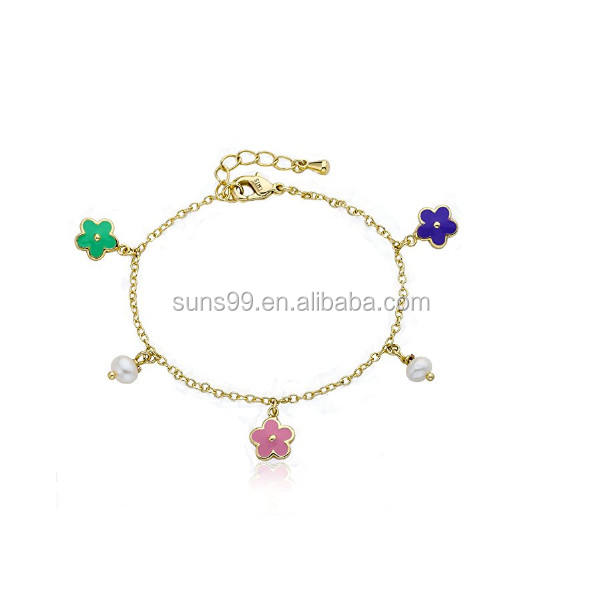 Pink & Mint Green Enamel Flowers Charm Bracelet Accented With Fresh Water Pearl Dangles