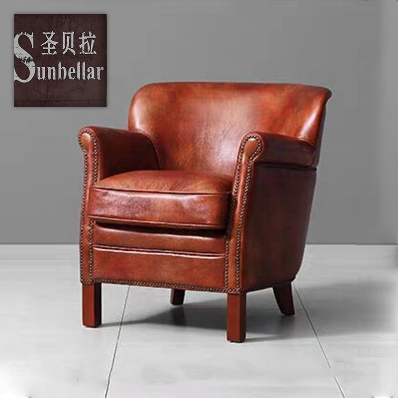 luxury design armchair genuine leather leisure chair for the living room hotel project guest room sofa chair