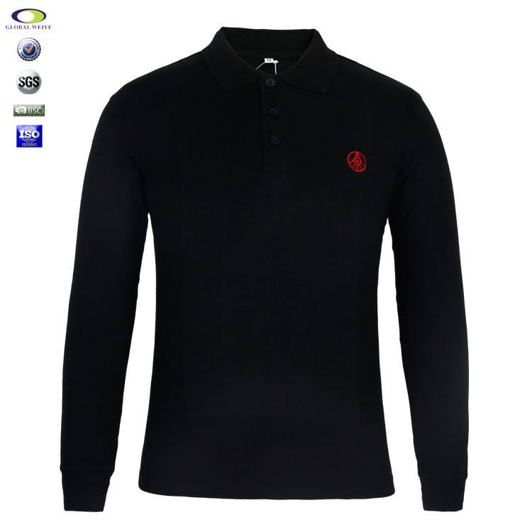 Cheap wholesale mens long sleeve polo t shirt with embroidery logo