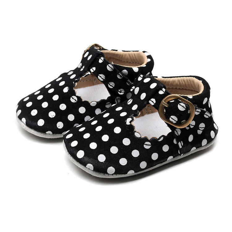 Hot Sale Genuine Leather Mary Jane Baby Shoes Dot Prints T-bar Baby Girls Dress Shoes Fashion Baby Moccasins Drop Shipping