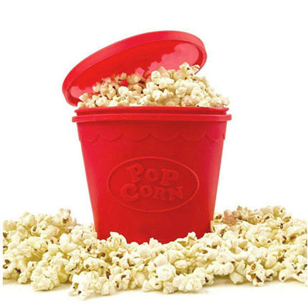 Oval shape microwave silicone popcorn maker bucket with lid