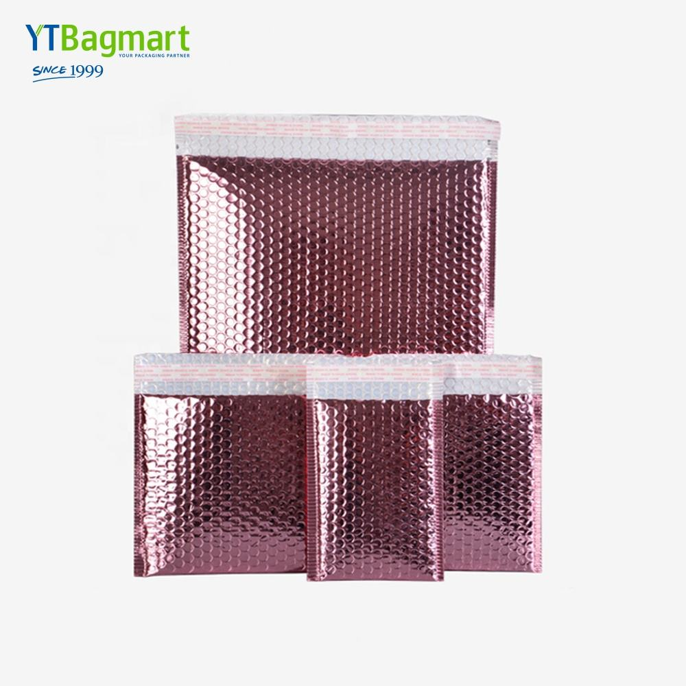High Quality Custom Poly Bubble Mailing Bag Metallic Glamour Rose Gold Bubble Mailers Packaging