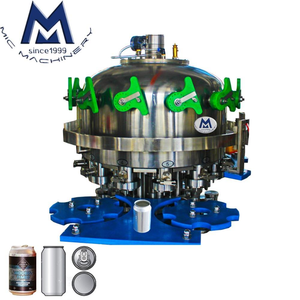 Space Saving Entry Level Automatic Alcoholic Beverage Can Filling Machine / Alcoholic Drink Tin Canning Machine