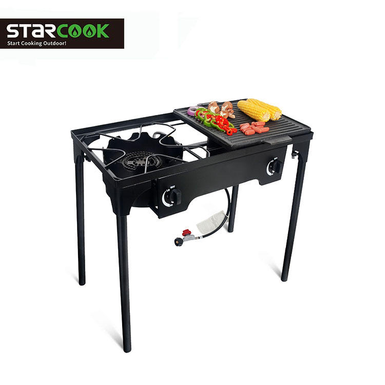 Double burner gas stove BBQ explore gas cooker for outdoor use