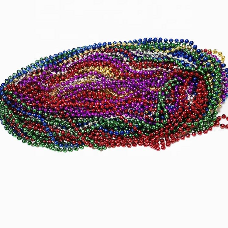 7MM Carnival Party Necklace Plastic Bead Necklace mardi gras beaded necklaces
