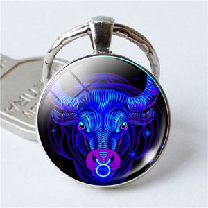 Custom Cheap Price Fashion Personal Practical Alloy Metal 12 Constellation Keychains Virgo Scorpio Pendant Double Face Keyring