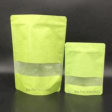 Biodegradable stand up zip lock rice paper bag with window for snack packaging