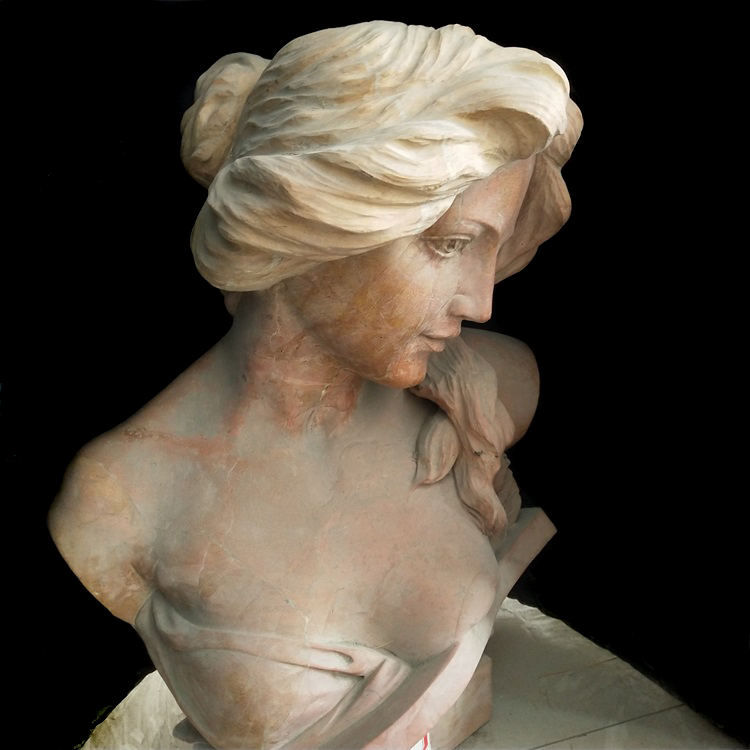 Beautiful Yellow Marble Women Statue Bust Sculpture