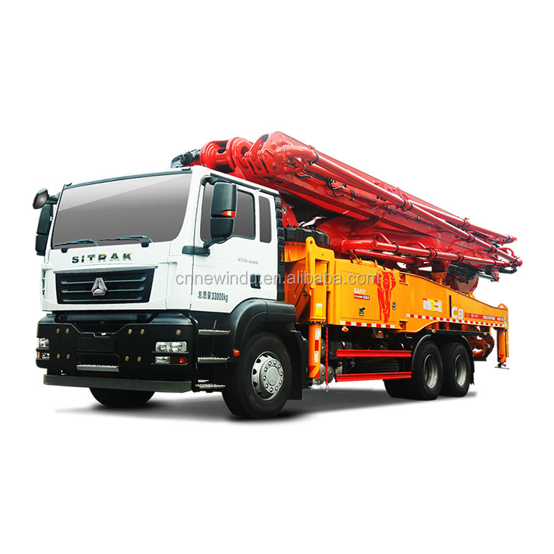 SANY 49m Used Stationary Concrete Pump with Mixer for Sale