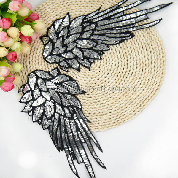 angel wings design custom wholesale sequin applique for clothing decoration