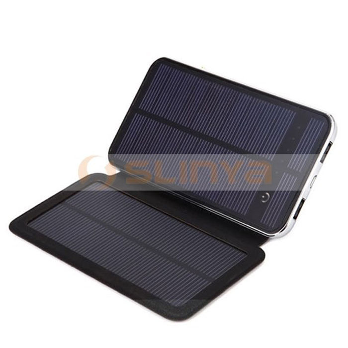 3W 10000mah Mobile Phone Charger Rechargeable Battery with 2 Solar Panels Portable Power Bank Pack for Cell Phones