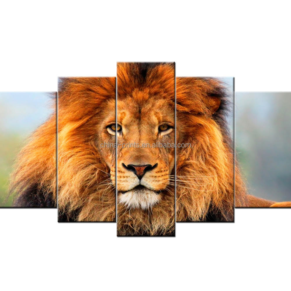 Multi-Panel Lion Portrait Wall Art Animal Picture Print for Wall Decor