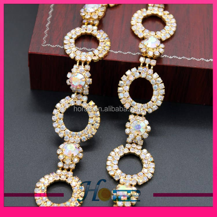Chic ab crystal color rhinestone cup chain rhinestone trimming for decoration