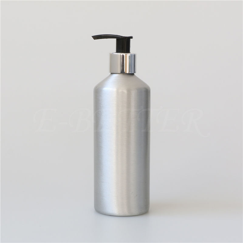 custom fancy aluminum cosmetic 300ml lotion pump bottle