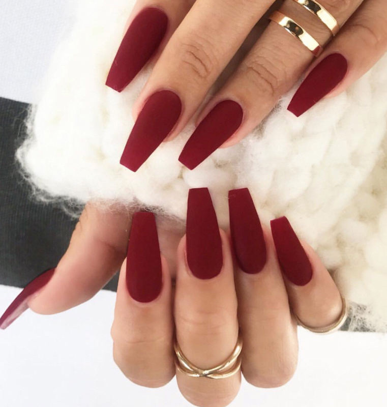 wholesale 24pcs/box wine red long style bride false nails pure color preaa on nails