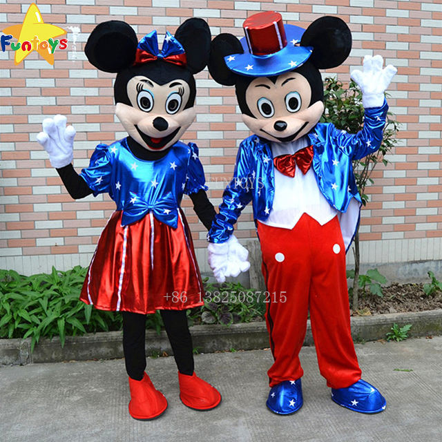Funtoys CE USA Flag Minnie & Mickey Mascot Costume Cartoon Character Birthday Party Fancy Cosplay Dress For Adult