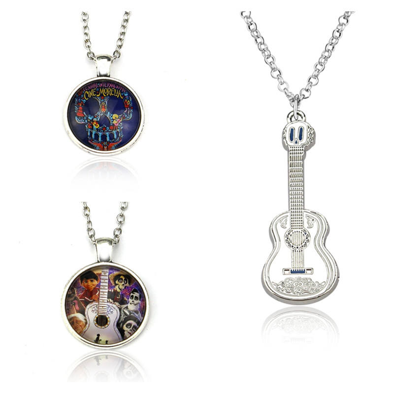 Movie Coco Pixar Necklace Guitar Pendant Handmade Rope Chain Necklaces