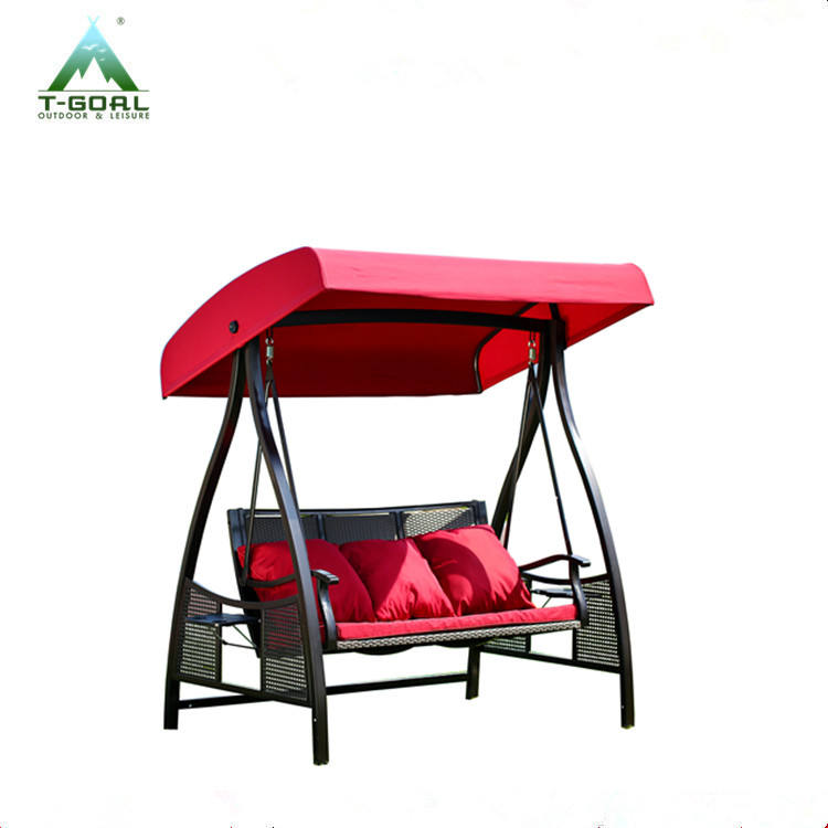 outdoor 3-seater SWG0001 steel rattan swing chair with cushion