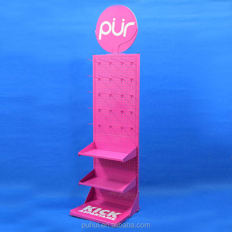 Metal Shelf Store Presentation Floor Stand Retail Display Stationery Tools Metal Rack With Adjustable Shelf And Hooks